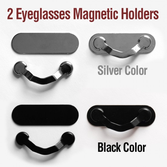 2pcs Strong Magnetic Stainless Steel Eyeglasses Holders Clips Black & Silver