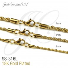 Gold Plated Rope Chains