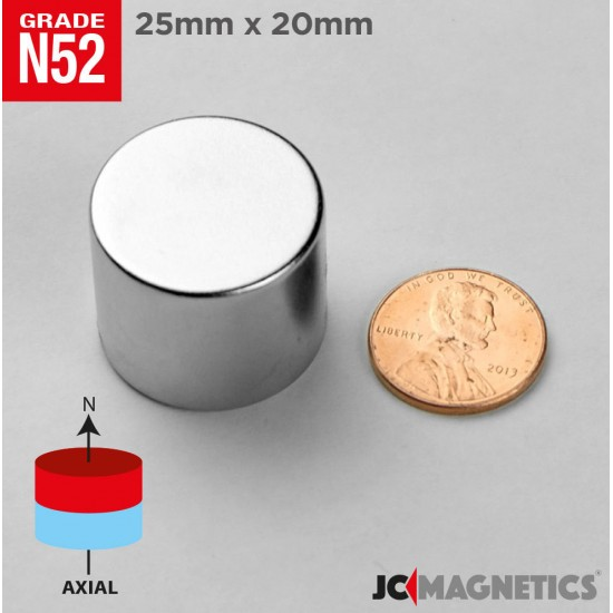 Rare Earth Neodymium Magnet N52 25mm x 20mm 1in x 3/4in Disc Cylinder