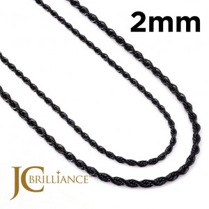 Black Stainless Steel 316L Rope Chains 2mm Thick