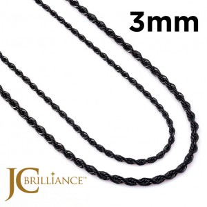 Black Stainless Steel 316L Rope Chains 3mm Thick