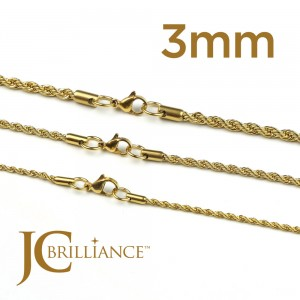 Gold Plated 18K Stainless Steel 316L Rope Chains 3mm Thick