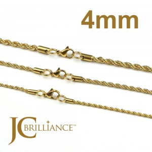 Gold Plated 18K Stainless Steel 316L Rope Chains 4mm Thick
